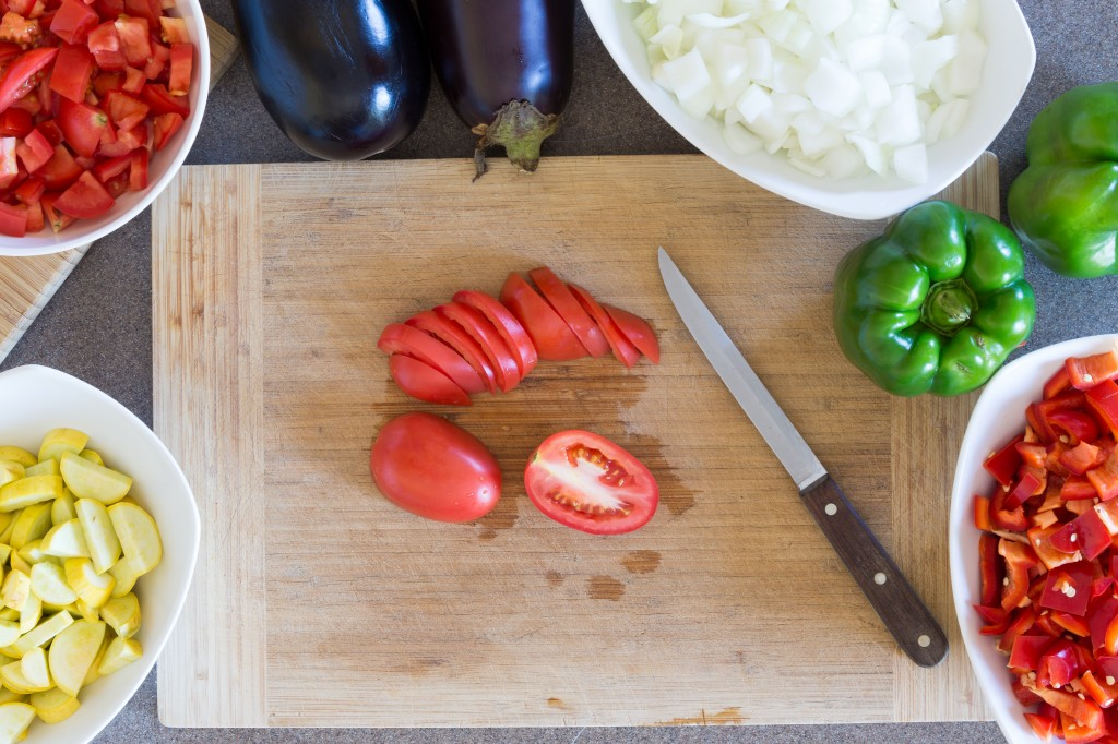 Prepping fresh vegetables for cooking