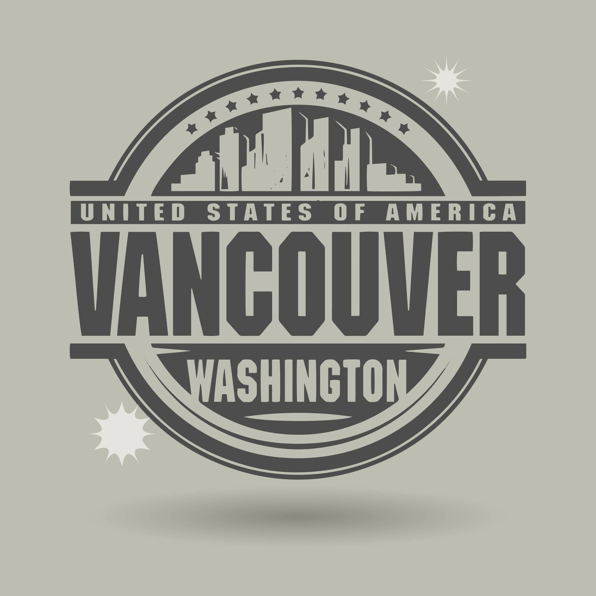 Stamp or label with text Vancouver, Washington inside